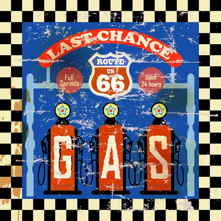 vintage retro route 66 gas station sign, vector illustration Vector