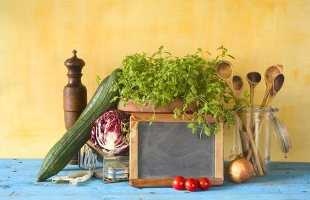 Food ingredients and ktchen utensils,free copy space
