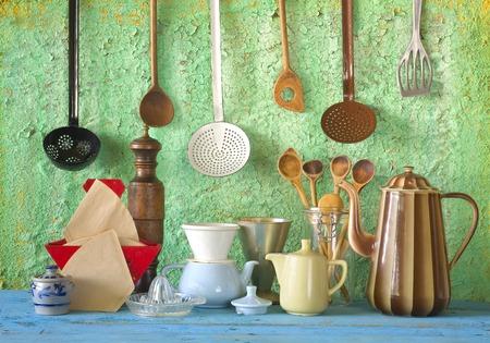 various kitchen vintage utensils, cooking, kitchen concept photo