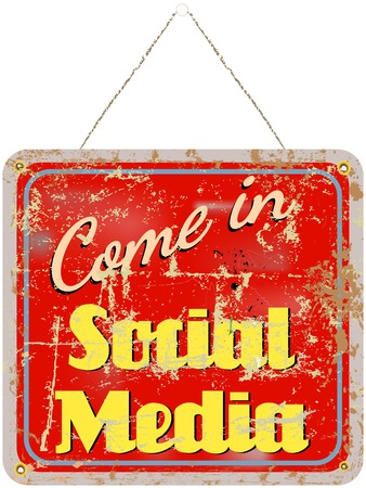 bookmarking: social media sign retro style grungy