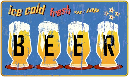 imperfections: vintage, retro beer sign, vector illustration