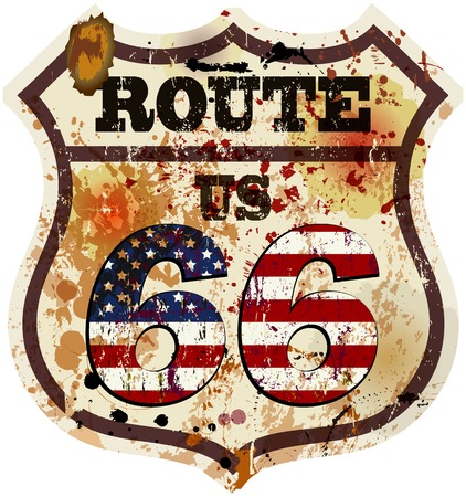 vintage route 66 road sign, retro style Vector