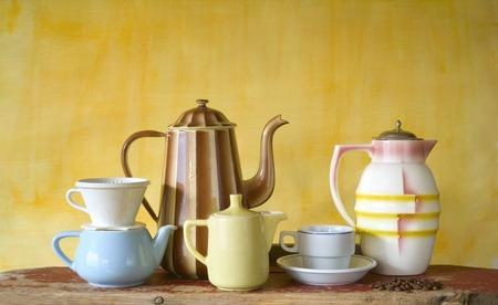 vintage coffee pots, free copy space photo