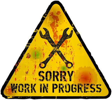 mending: website under construction sign, grungy,vector