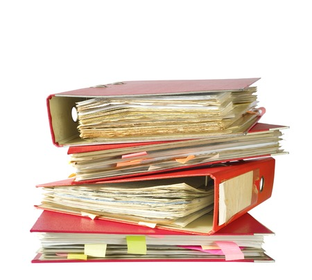stack of file folders, isolated on white background Stock Photo