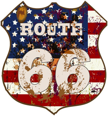 vintage route 66 road sign, retro style, vector illustration Zdjęcie Seryjne - 31922206