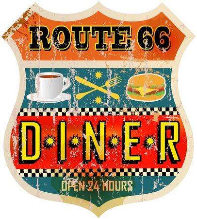 eating area: route sixty six diner sign