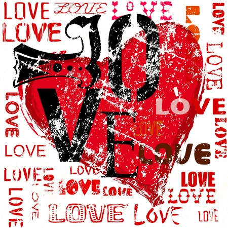 heart and love illustration, grunge style, vector Vector