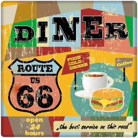 route sixty six diner sign, retro style, vector illustration Çizim
