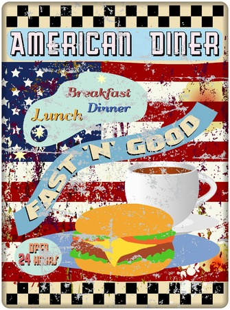 worn sign: retro american diner sign, worn and weathered, vector eps
