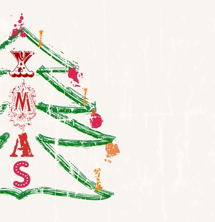 christmas illustration grungy, style, free copy space Vector