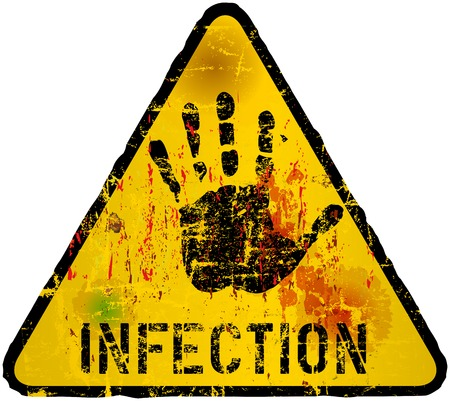 deadly: infection, grungy sign, vector