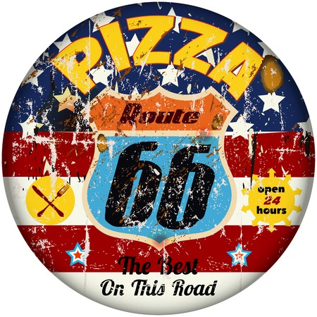 highway signs: vintage grungy pizzeria, pizza sign, vetor Illustration