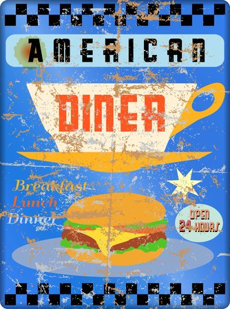 diners: retro american diner sign, worn and weathered, vector eps