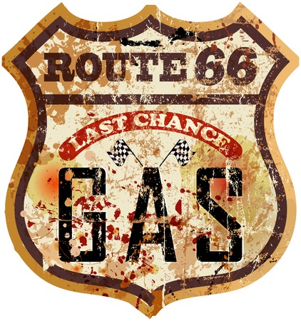 car ornament: Vintage route 66 gas station sign, vector illustration