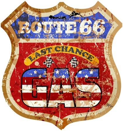 66: Vintage route 66 gas station sign, vector illustration