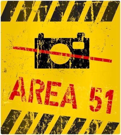 hazardous area sign: �rea 51 signo, estilo grunge, ilustraci�n vectorial