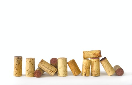 wine corks on white background, free copy space