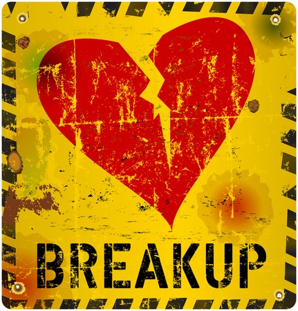 relationship breakup: breakup warning sign, Love concept, vector illustration