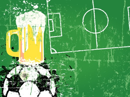 pilsener: Soccer or Football and beer, free copy space, vector