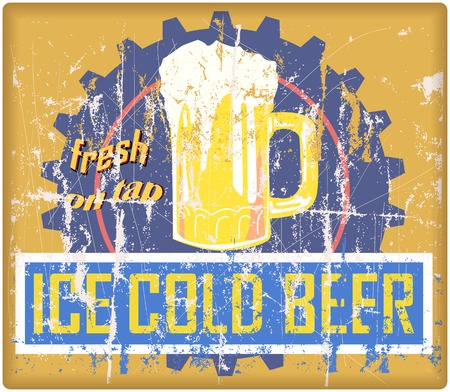 retro beer sign, vector, grungy style, free copy space Illustration