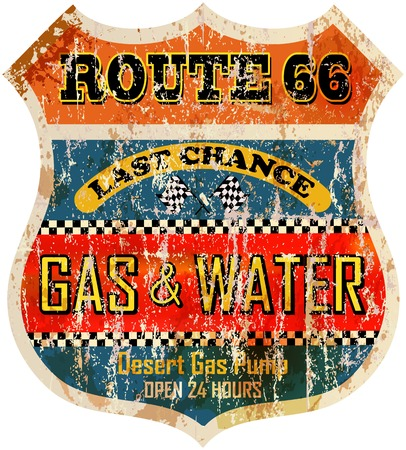 old sign: route sixty six gas station sign, retro style illustration Illustration