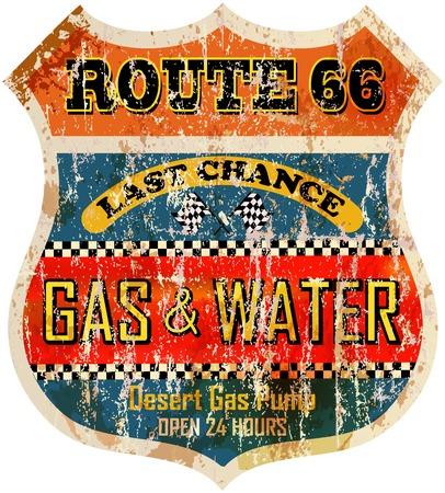 route sixty six gas station sign, retro style illustration Illustration