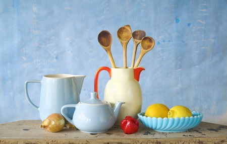 old items: vintage kitchen utensils,food ingredients, cooking concept Stock Photo