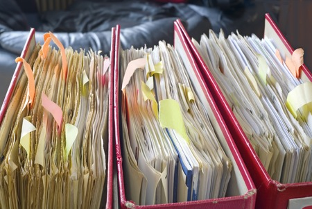 disorganization: file folders, close up, selective focus, Stock Photo