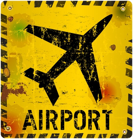 Grungy airport sign, vector illustration Vector