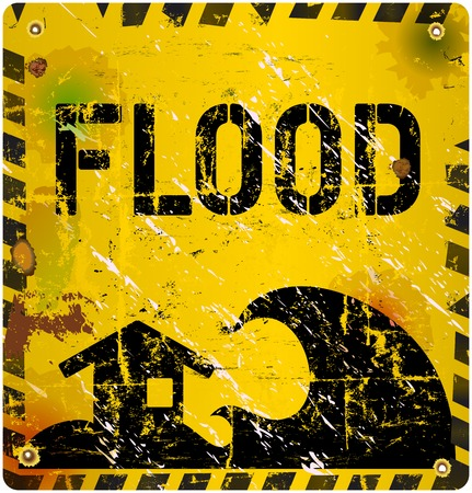 imperil: flood warning sign, grungy and weathered, vector eps 10