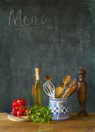 Food ingredients,kitchen utensils, black board, free copy space