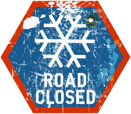 road closed: road closed in winter, traffic sign, vector illustration Illustration