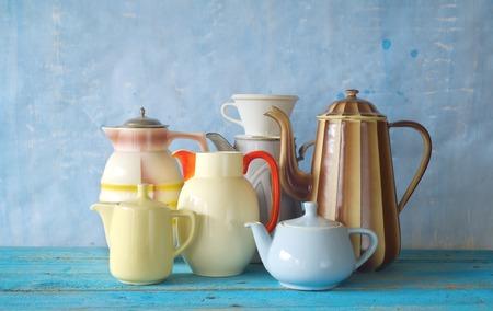 set of retro coffee pots, free copy space photo