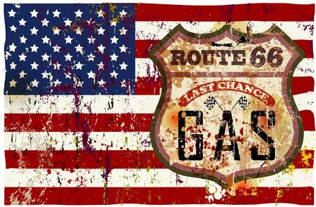 ビンテージ ルート 66 ガソリン スタンド サイン、ベクトル イラスト
