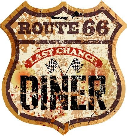 sixty: route sixty six diner sign, retro style, vector illustration Illustration