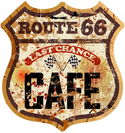 sixty: route sixty six cafe diner sign, retro style, vector illustration Illustration