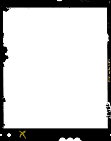 formats: large format film sheet negative, 4 x 5 inch, photo frame, ,with free copy space, isolated on white background