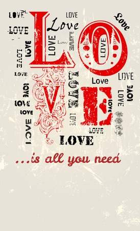 Love illustration, grungy style, free copy space,vector format