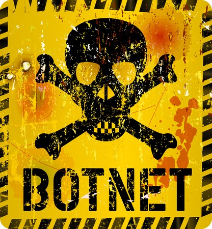 botnet infection warning sign, grungy style, vector illustration 일러스트