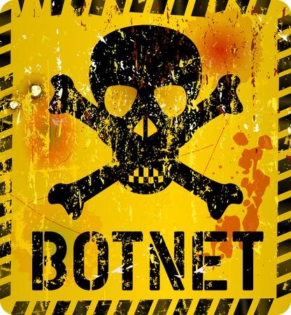 botnet infection warning sign, grungy style, vector illustration Stock Illustratie