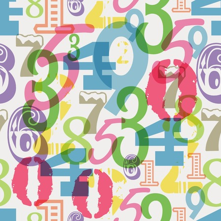 0 6: seamless pattern numbers, vector illustration