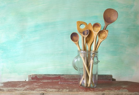 daily use item: kitchen utensils, wooden spoons, free copy space Stock Photo
