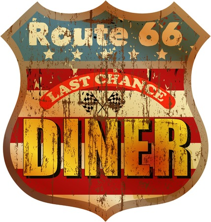 residual: Vintage route sixty diner sign, vector illustration Illustration