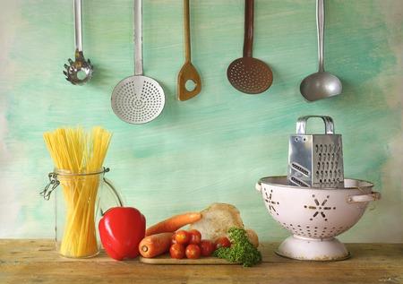 vegetables, spaghetti, kitchen utesnlis, free copy space