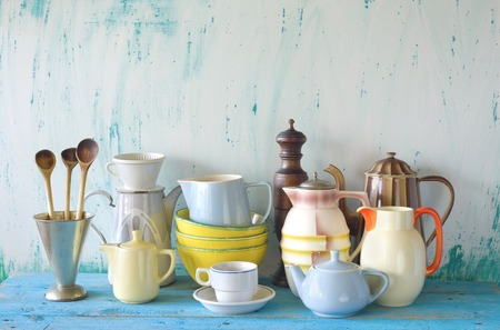dinnerware: collection of vintage dinnerware, free copy space Stock Photo