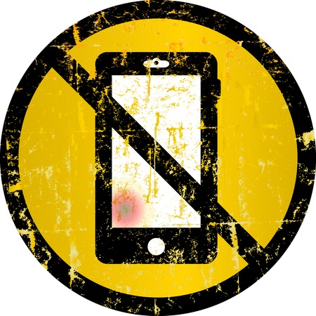 refrain: smartphone prohibited sign, vector illustration
