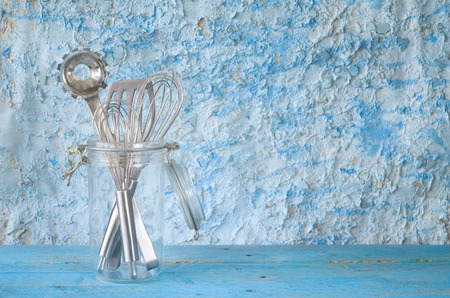 glass jar: kitchen utensils in a glass jar, free copy space