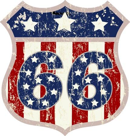 ビンテージ ルート 66 道路標識は、レトロなスタイルは、ベクトル イラスト  イラスト・ベクター素材