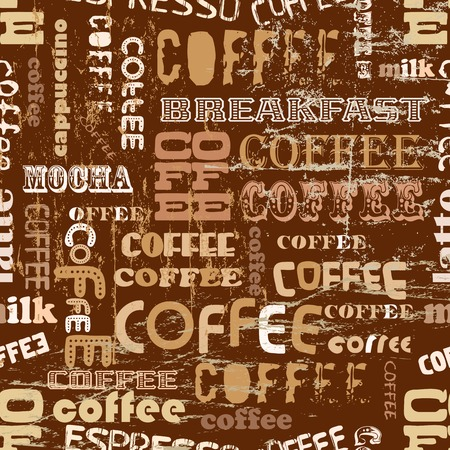 cappucino: retro koffie naadloze patroon, tag cloud, vector illustratie